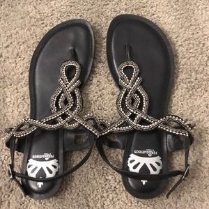 Fergalicious Sandals black with rhinestones